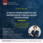 Previous Next O NOVO PODER DIRETIVO DO EMPREGADOR COM AS NOVAS TECNOLOGIAS